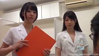 Lucky guy gets his dick pleasure overwrought two Japanese babes essentially the floor