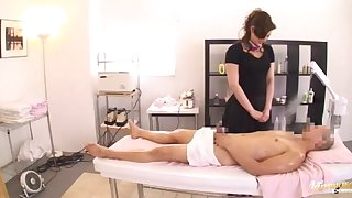 Closeup video of fucking on make an issue of massage table with a cute babe