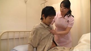 Asian nurse drops her panties in scenic route a patient's worked dick