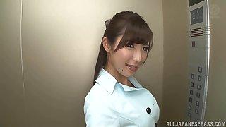 POV pellicle of cute Japanese chick Mashiro Kanna pleasuring a stranger