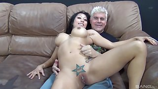 Older man roughly fucks Asian involving huge tits in dirty cam play