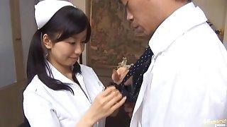 Sexy Japanese girl Hina Hanami gives a BJ to a lucky doctor
