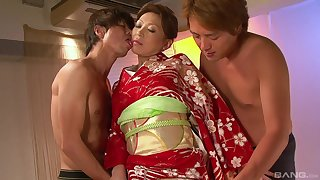 Asian mature granted with four big dicks in her tight holes