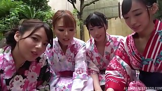 Lucky man films in POV while four Japanese babes give head