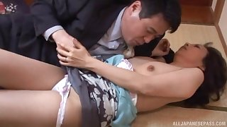 Shy looking Japanese adult fumbling anent fucking like a whore