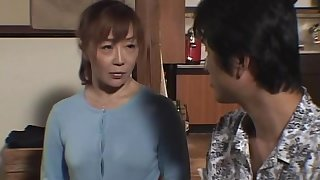 Horny Japanese wife drops on her knees to admiration a stiff cock