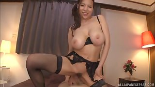 Oiled up babe Saijou Ruri gets cum all over her big round bowels