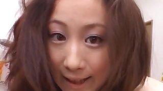 POV video of cute Asian chick Shizuku Morino pleasuring with a BJ