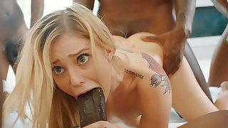 Platinum-Blonde's cock-squeezing labia pummeled firm by phat dark-hued schlongs