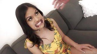 Playful black haired Asian nympho Kendra Spade gives deepthroat blowjob