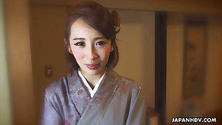Japanese nympho in kimono Aya Kisaki is ready to masturbate herself