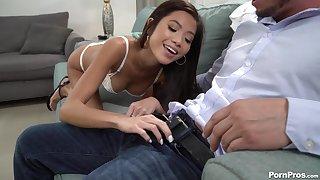 Naughty Asian girl Vina Ambiance disturbs ladies' by arrogantly him a good blowjob